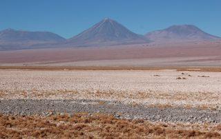 Paesaggio con vista del vulcano Licancabur e Salar de Atacama. Tratto: Camar - Peine. Regione di Antofagasta, Cile.