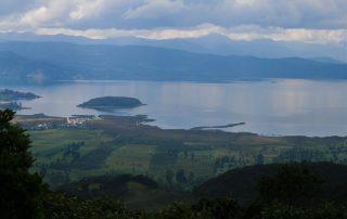Panoramica della laguna La Cocha, Nariño, Colombia.