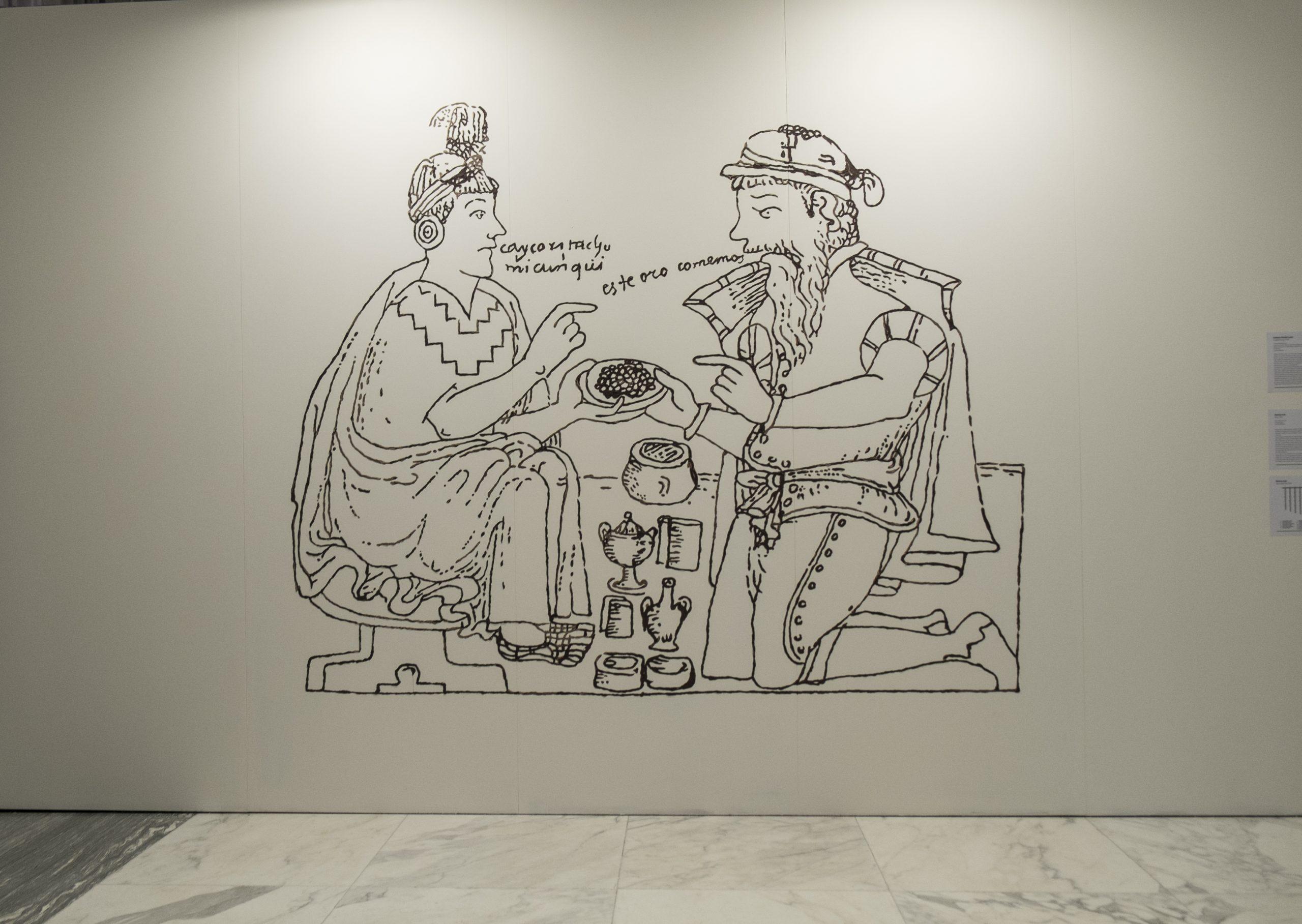 Una cierta idea del paraíso 1. este oro comemos (según Guamán Poma de Ayala), 2006 - 2021 Murale realizzato con cioccolato italiano, elaborato con cacao ecuadoriano. Courtesy dell'artista.